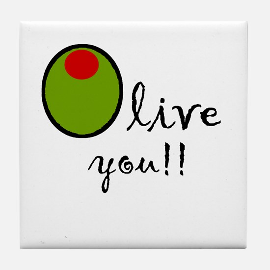 Olive You Tile Coaster
