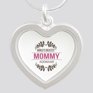 Custom Worlds Greatest Mommy Silver Heart Necklace