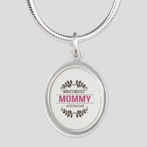 Custom Worlds Greatest Mommy Silver Oval Necklace