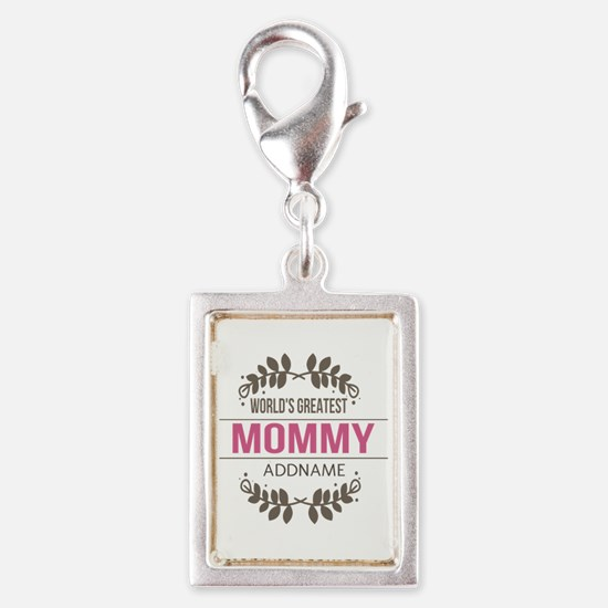 Custom Worlds Greatest Mommy Silver Portrait Charm