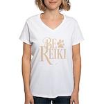 Be Reiki Pawprint Women's V-Neck White T-Shirt
