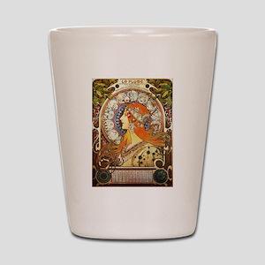 Alphonse Mucha La Plume Zodiac Shot Glass