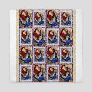 Red and Blue Mini Crab Quilt Queen Duvet
