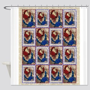 Red and Blue Mini Crab Quilt Shower Curtain