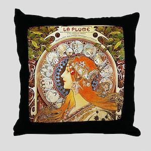 Alphonse Mucha La Plume Zodiac Throw Pillow