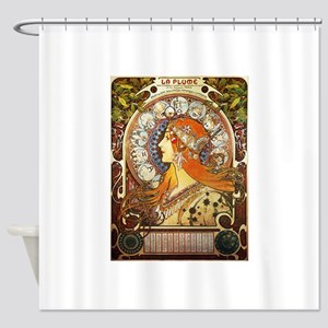 Alphonse Mucha La Plume Zodiac Shower Curtain
