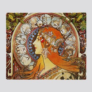 Alphonse Mucha La Plume Zodiac Throw Blanket