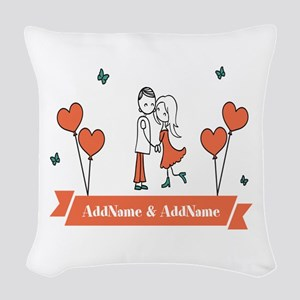 Personalized Names Couple Hear Woven Throw Pillow