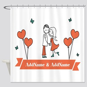 Personalized Names Couple Hearts Shower Curtain
