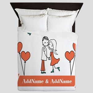 Personalized Names Couple Hearts Queen Duvet