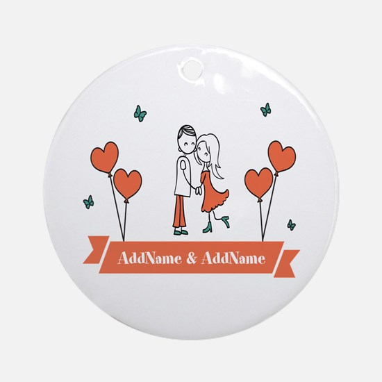 Personalized Names Couple Hearts Ornament (Round)