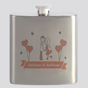 Personalized Names Couple Hearts Flask