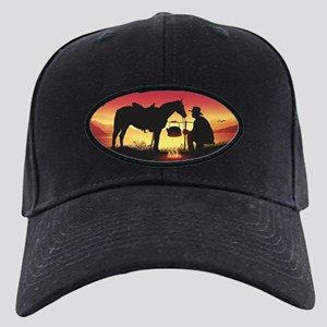 Cowboy and Horse at Sunset Baseball Hat