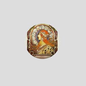 Alphonse Mucha La Plume Zodiac Mini Button