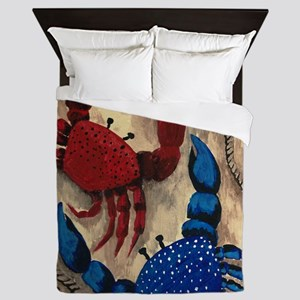 Red and Blue Crab Queen Duvet