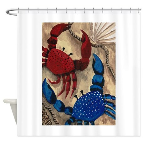 red and blue crab shower curtain by eclecticramblingsdesigns. Black Bedroom Furniture Sets. Home Design Ideas