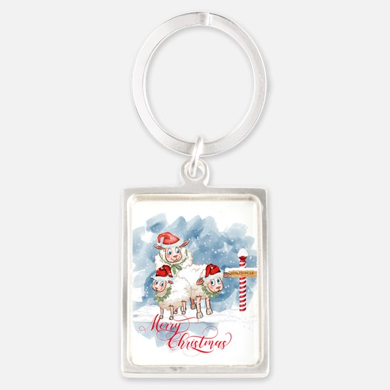 Merry Christmas North Pole Sheep Keychains