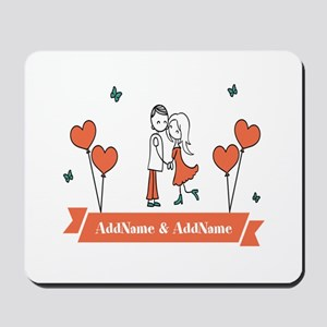 Personalized Names Couple Hearts Mousepad
