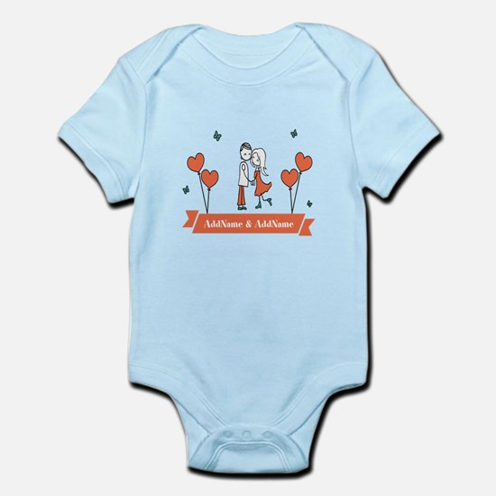 Personalized Names Couple Hearts Body Suit