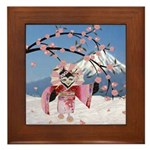 Sakura Geisha Bird Framed Tile