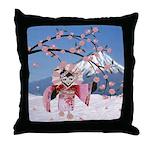 Sakura Geisha Bird Throw Pillow