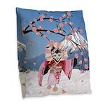 Sakura Geisha Bird Burlap Throw Pillow