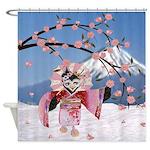Sakura Geisha Bird Shower Curtain