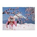 Sakura Geisha Bird 5'x7'Area Rug