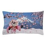 Sakura Geisha Bird Pillow Case
