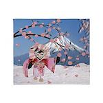Sakura Geisha Bird Throw Blanket