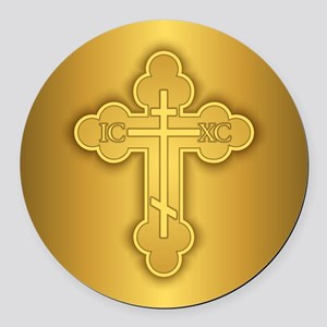 Orthodox Cross Round Car Magnet