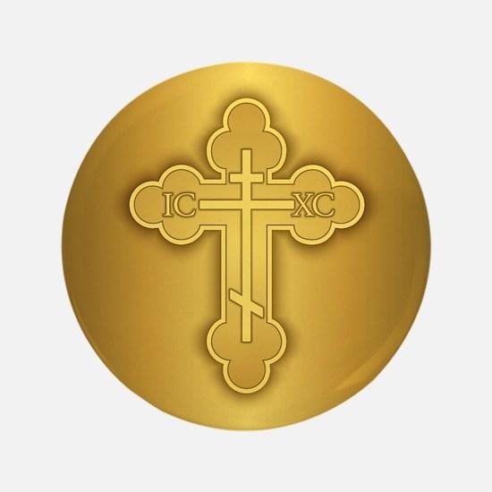 "Orthodox Cross 3.5"" Button"