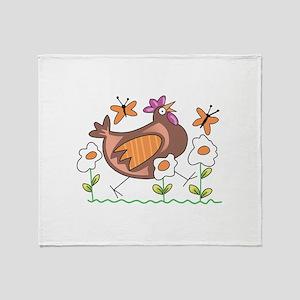 EGG FLOWERS & CHICKEN Throw Blanket