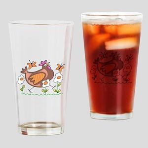EGG FLOWERS & CHICKEN Drinking Glass