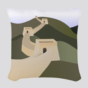 great wall of china art drawin Woven Throw Pillow