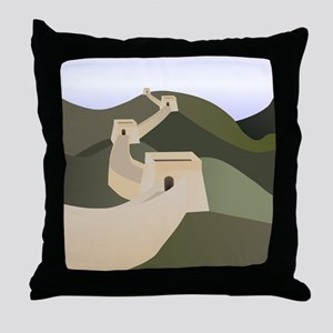 great wall of china art drawing Throw Pillow