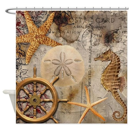 Nautical Postcard Collage Shower Curtain By Simpleshopping