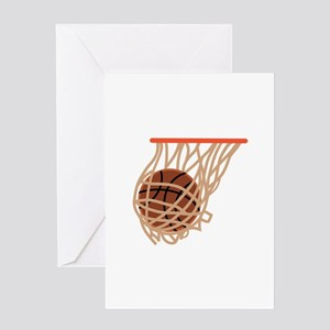 BASKETBALL IN NET Greeting Cards