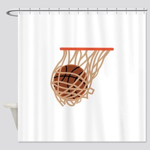 BASKETBALL IN NET Shower Curtain