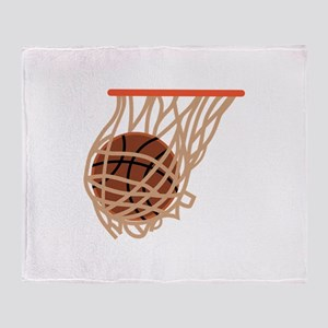 BASKETBALL IN NET Throw Blanket