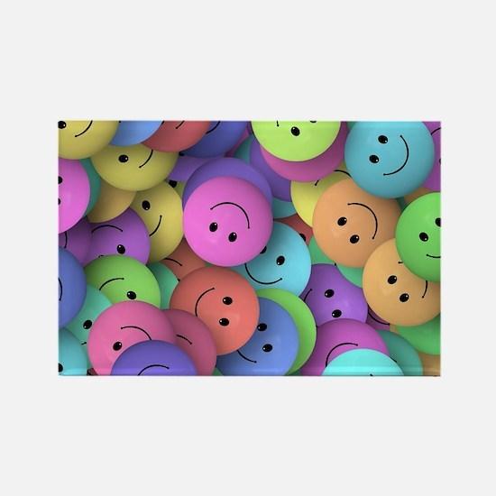 rainbow happy faces art Rectangle Magnet