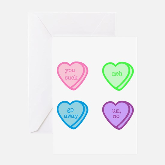 Grumpy Candy Hearts Greeting Cards
