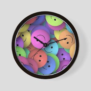 rainbow happy faces art Wall Clock