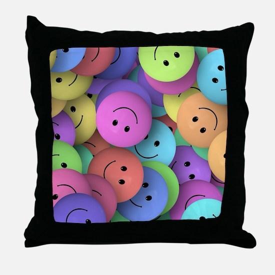 rainbow happy faces art Throw Pillow