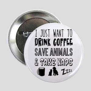 """Coffee Animals Naps 2.25"""" Button"""