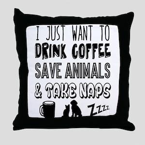 Coffee Animals Naps Throw Pillow