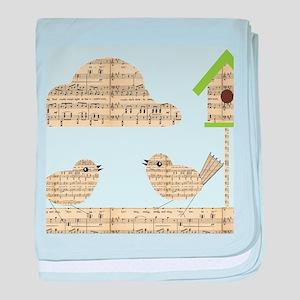 twee birds music notes baby blanket