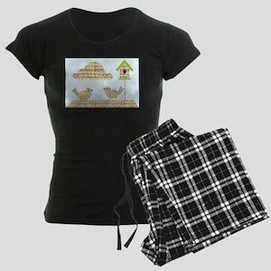 twee birds music notes Women's Dark Pajamas