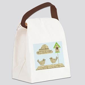 twee birds music notes Canvas Lunch Bag
