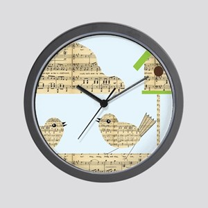 twee birds music notes Wall Clock